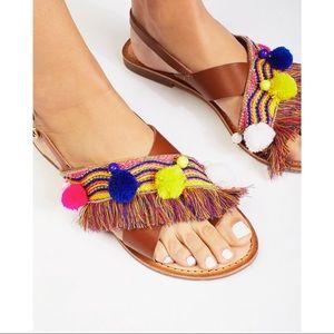 Free People Sun Kissed Pom Pom Fringe Sandals